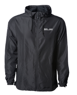 SolJah Black Hooded Windbreaker